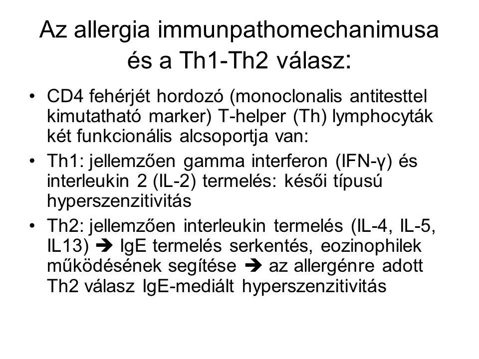 Az allergia immunpathomechanimusa és a Th1-Th2 válasz : •CD4 fehérjét hordozó (monoclonalis antitesttel kimutatható marker) T-helper (Th) lymphocyták