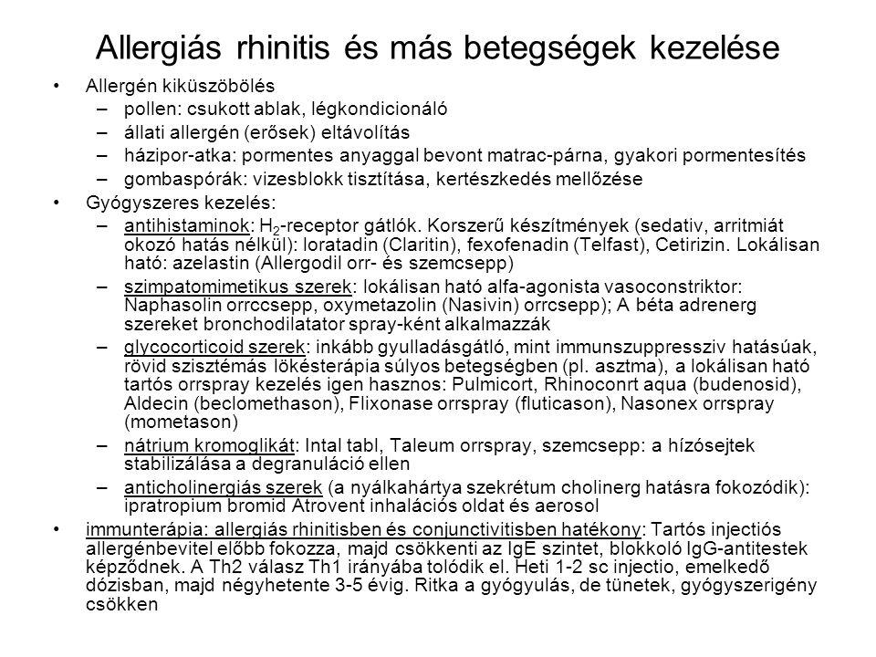 Allergiás rhinitis és más betegségek kezelése •Allergén kiküszöbölés –pollen: csukott ablak, légkondicionáló –állati allergén (erősek) eltávolítás –há