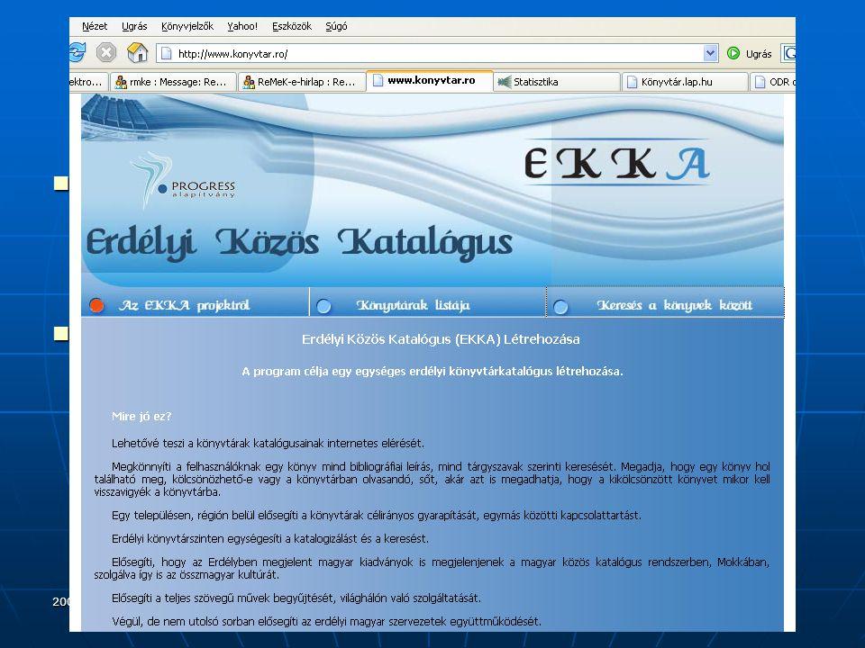 2006.szeptember 20. Vámospércs Katalógusok, adatbázisok II.