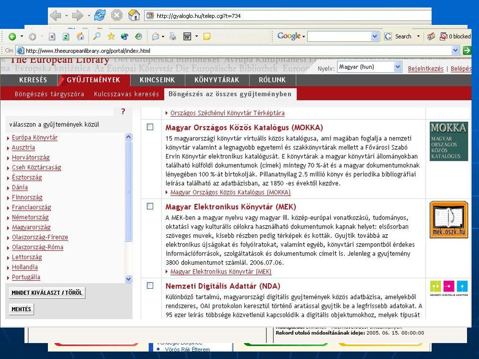 2006. szeptember 20. Vámospércs Digitalizálás, online tartalom II.  Turizmus, információs ipar  Pl. Gyalogló.hu!  Nemzeti Digitális Adattár – NDA.H