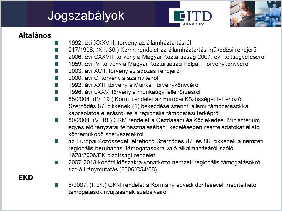 Jogszabályok Általános  1992. évi XXXVIII. törvény az államháztartásról  217/1998. (XII. 30.) Korm. rendelet az államháztartás működési rendjéről 