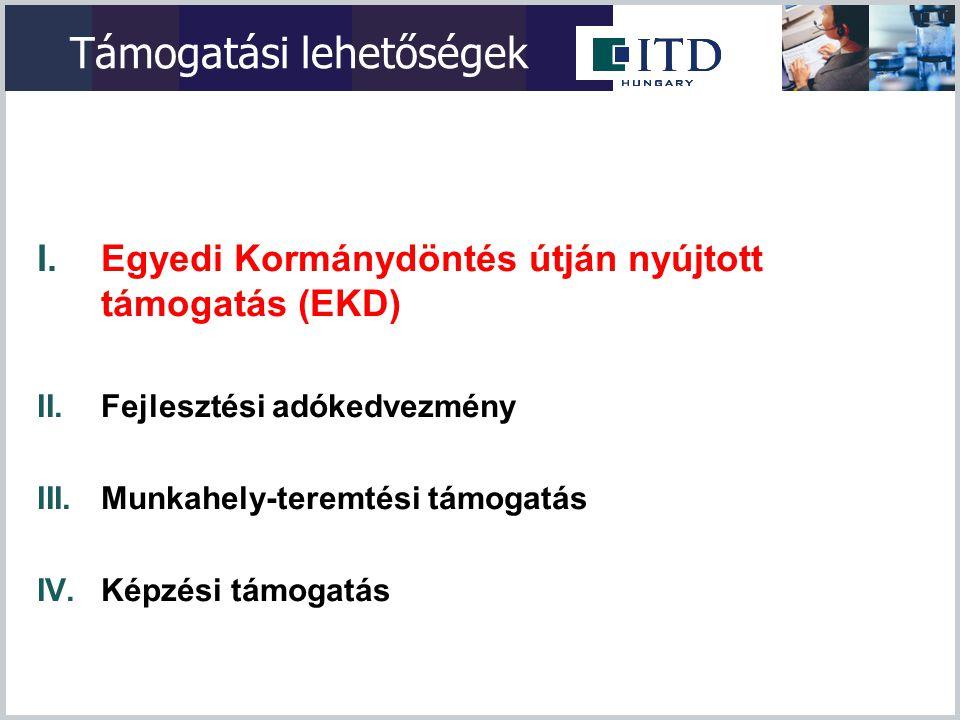 Közreműködő Szervezetek (EKD) Támogatási egy-ablak kialakítása  ITDH Támogatási Programok Osztálya látja el a döntés- előkészítési folyamathoz kapcsolódó tevékenységeket:  Tájékoztatás nyújtás  Támogatási igények fogadása  Projekt értékelés, Kormánydöntés előkészítése  Támogatási ajánlat megküldése  Támogatási szerződések véglegesítése, nyomonkövetése  Monitoring feladatok  Pénzügyi elszámolás: a MAG-Magyar Gazdaságfejlesztési Központ Zrt.