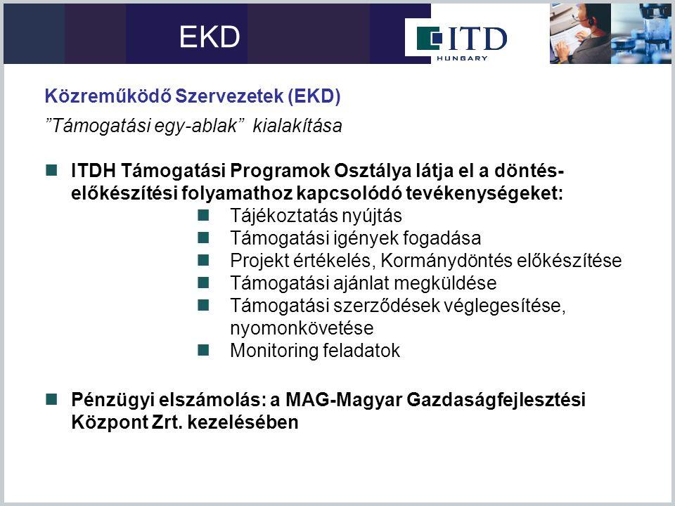 """Közreműködő Szervezetek (EKD) """"Támogatási egy-ablak"""" kialakítása  ITDH Támogatási Programok Osztálya látja el a döntés- előkészítési folyamathoz kapc"""