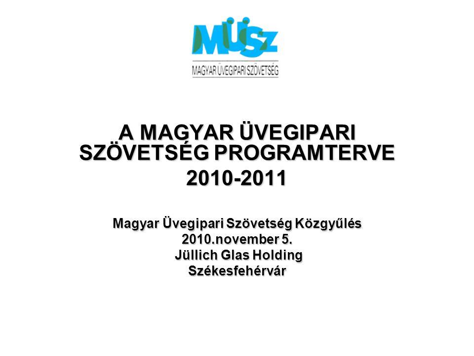 A MAGYAR ÜVEGIPARI SZÖVETSÉG PROGRAMTERVE 2010-2011 Magyar Üvegipari Szövetség Közgyűlés 2010.november 5. Jüllich Glas Holding Jüllich Glas HoldingSzé
