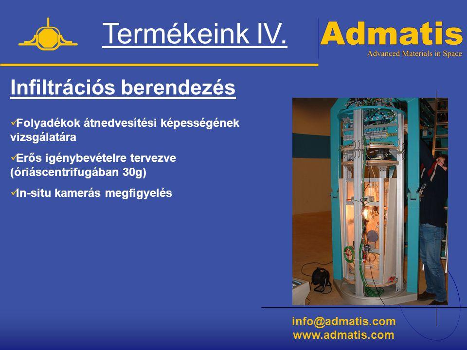 info@admatis.com www.admatis.com Termékeink IV. Infiltrációs berendezés  Folyadékok átnedvesítési képességének vizsgálatára  Erős igénybevételre ter