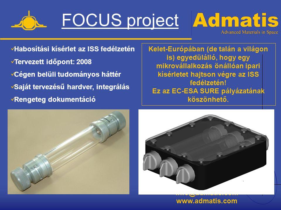 info@admatis.com www.admatis.com FOCUS project  Habosítási kísérlet az ISS fedélzetén  Tervezett időpont: 2008  Cégen belüli tudományos háttér  Sa