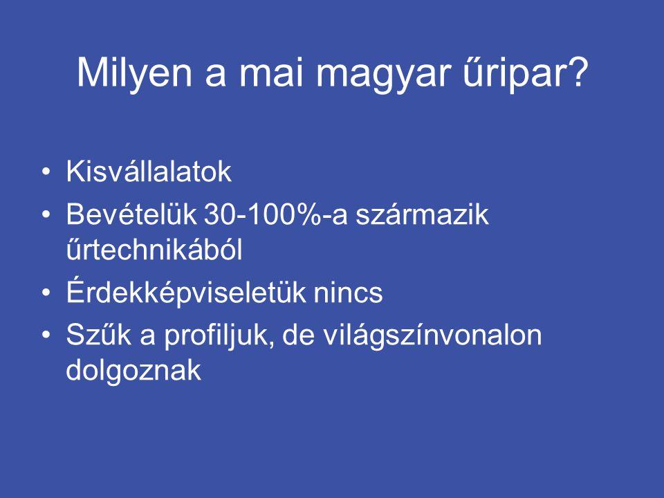 Milyen a mai magyar űripar? •Kisvállalatok •Bevételük 30-100%-a származik űrtechnikából •Érdekképviseletük nincs •Szűk a profiljuk, de világszínvonalo