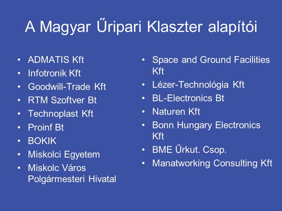 A Magyar Űripari Klaszter alapítói •ADMATIS Kft •Infotronik Kft •Goodwill-Trade Kft •RTM Szoftver Bt •Technoplast Kft •Proinf Bt •BOKIK •Miskolci Egye