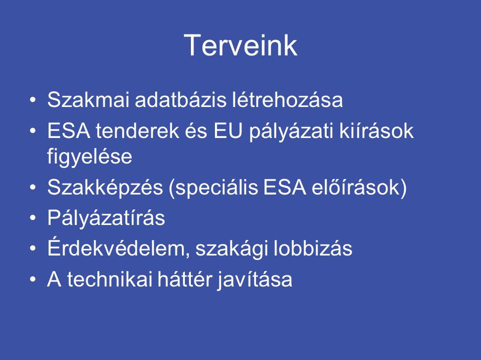 Terveink •Szakmai adatbázis létrehozása •ESA tenderek és EU pályázati kiírások figyelése •Szakképzés (speciális ESA előírások) •Pályázatírás •Érdekvéd