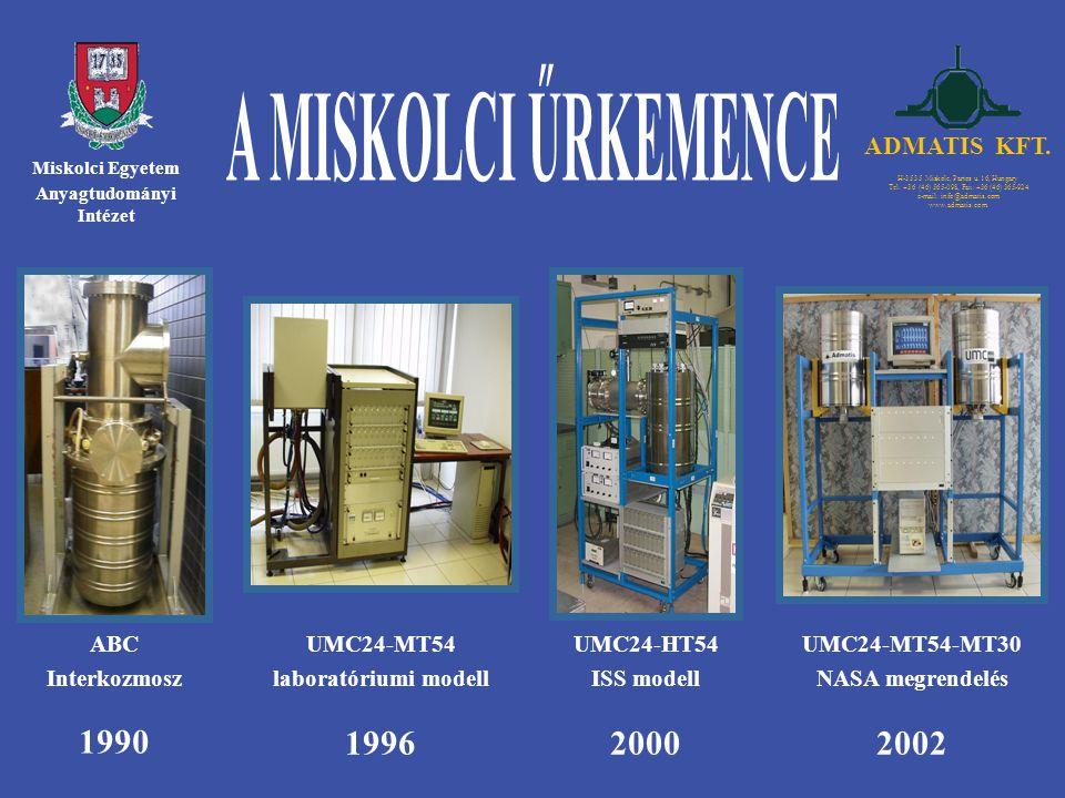 Miskolci Egyetem Anyagtudományi Intézet 1990 ABC Interkozmosz 1996 UMC24-MT54 laboratóriumi modell 2000 UMC24-HT54 ISS modell 2002 UMC24-MT54-MT30 NAS