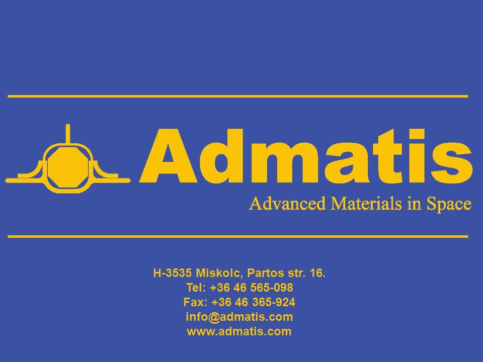 H-3535 Miskolc, Partos str. 16. Tel: +36 46 565-098 Fax: +36 46 365-924 info@admatis.com www.admatis.com