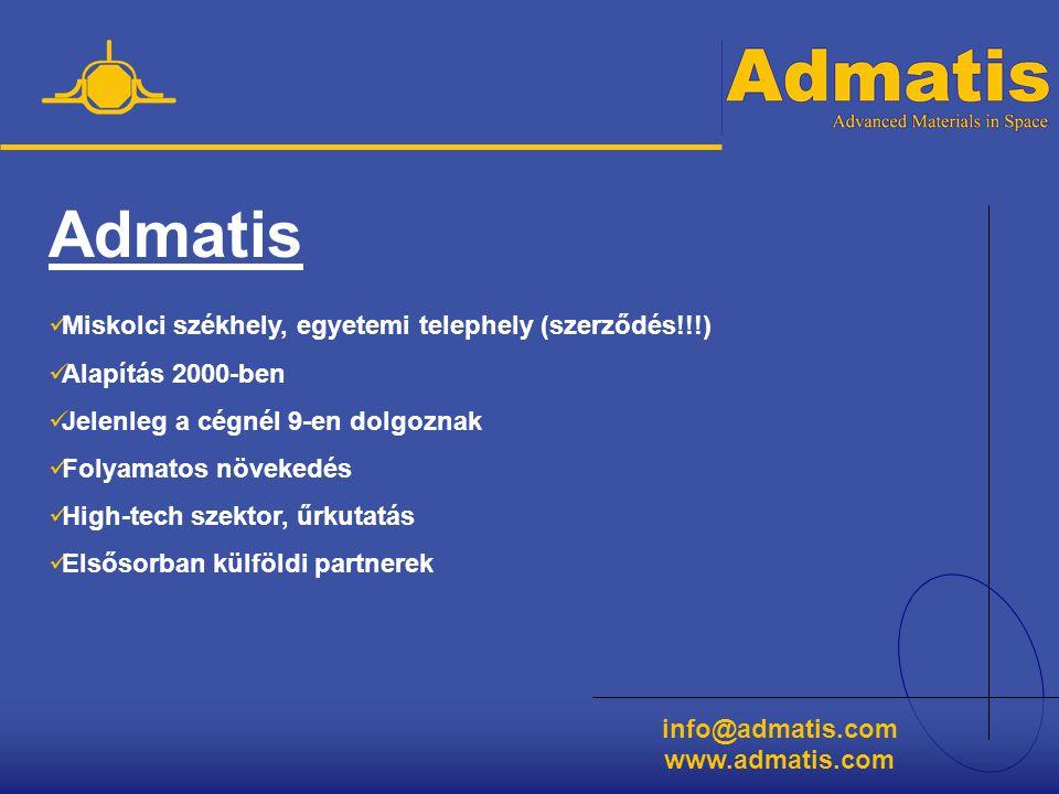 info@admatis.com www.admatis.com Partnereink  NASA (Marshall Space Flight Center)  SpaceHub  ESA (European Space Agency)  Berlini Egyetem  ZARM  Brémai Egyetem  Magyar Űrkutatási Iroda (MŰI)  KKKI  Miskolci Egyetem  és számos kisebb cég