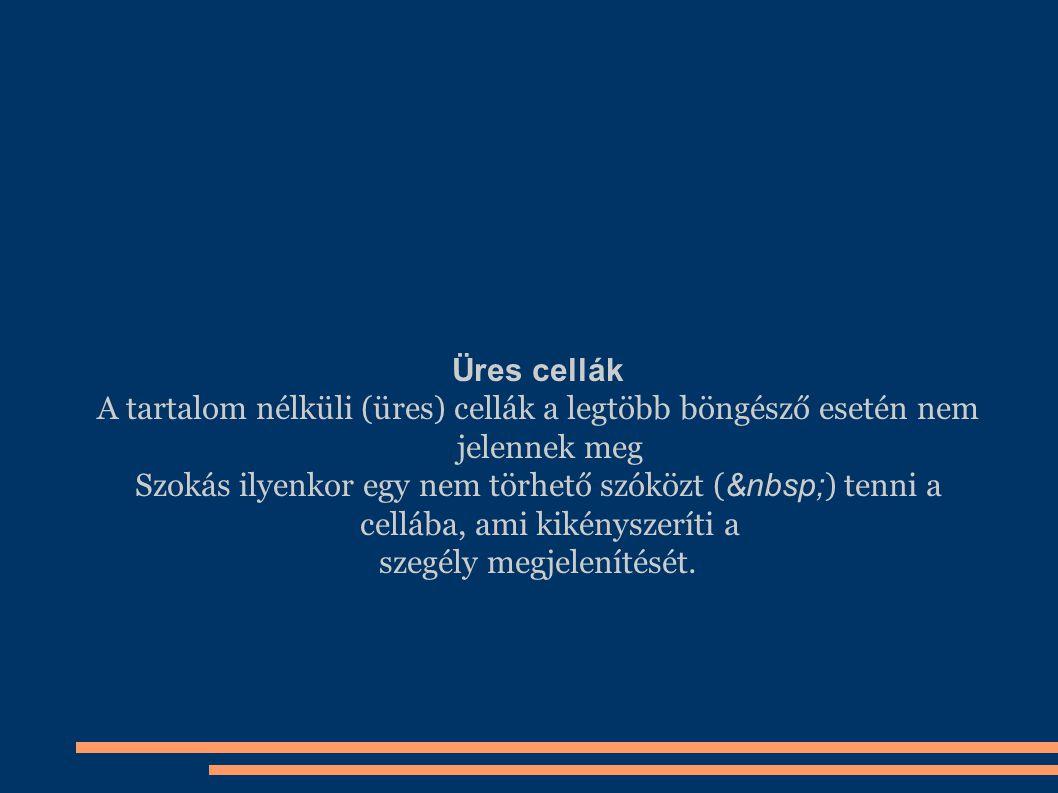 Üres cellák A tartalom nélküli (üres) cellák a legtöbb böngésző esetén nem jelennek meg Szokás ilyenkor egy nem törhető szóközt ( ) tenni a cellába, a