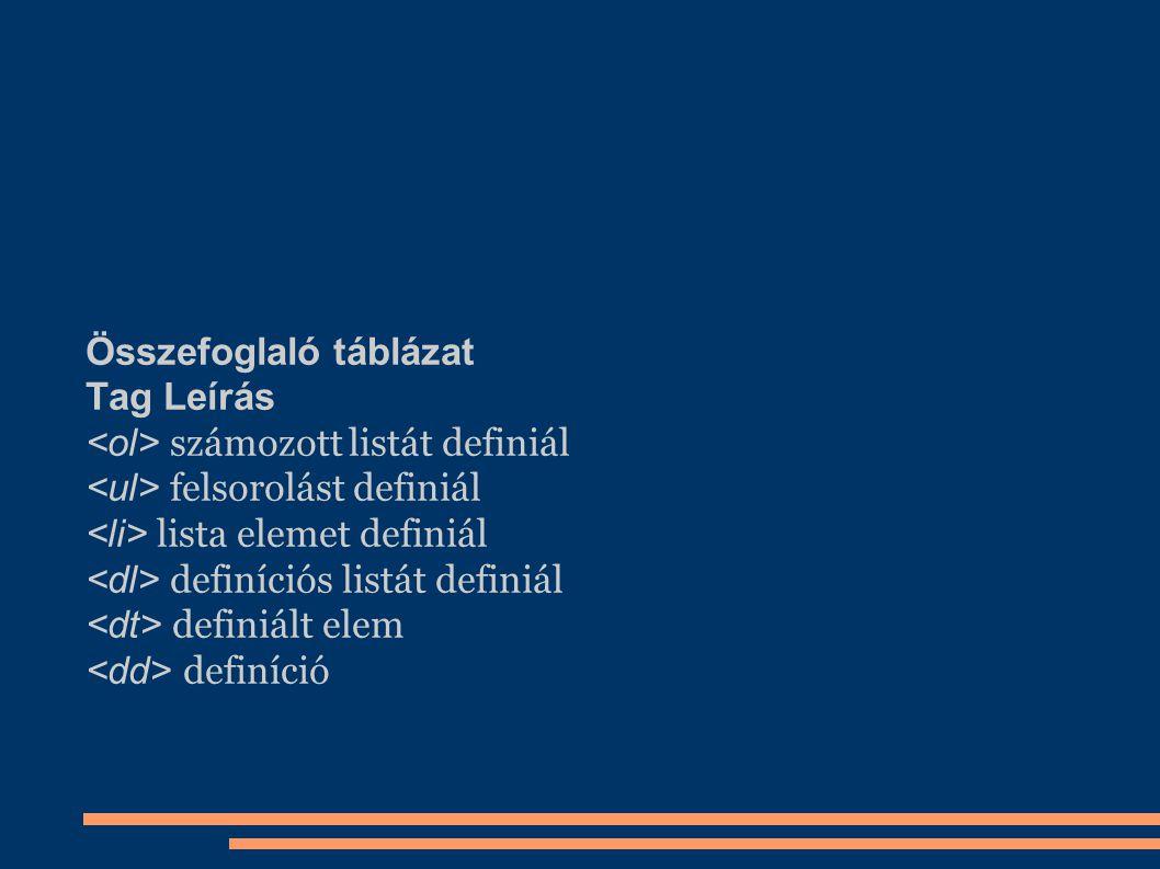 Összefoglaló táblázat Tag Leírás számozott listát definiál felsorolást definiál lista elemet definiál definíciós listát definiál definiált elem definí