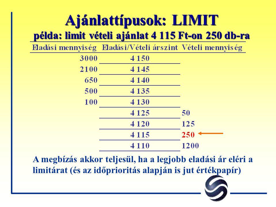 Ajánlattípusok: LIMIT példa: limit vételi ajánlat 4 115 Ft-on 250 db-ra A megbízás akkor teljesül, ha a legjobb eladási ár eléri a limitárat (és az id