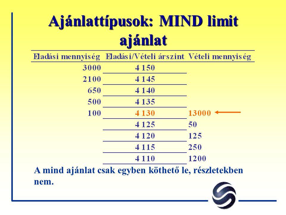 Ajánlattípusok: MIND limit ajánlat A mind ajánlat csak egyben köthető le, részletekben nem.