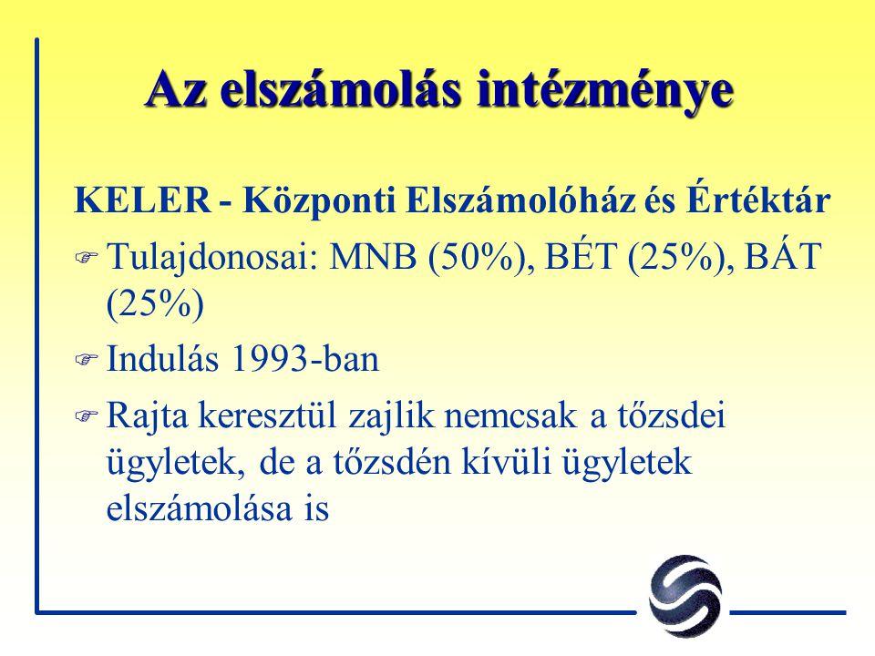 Az elszámolás intézménye KELER - Központi Elszámolóház és Értéktár F Tulajdonosai: MNB (50%), BÉT (25%), BÁT (25%) F Indulás 1993-ban F Rajta keresztü