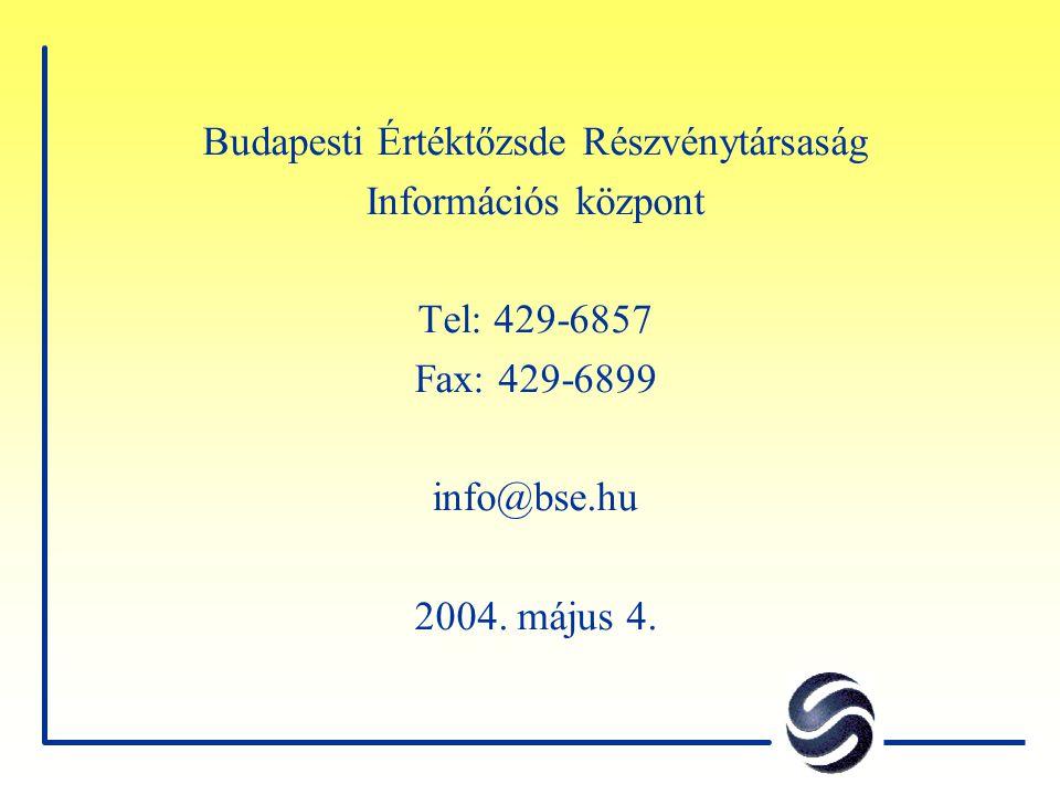 Budapesti Értéktőzsde Részvénytársaság Információs központ Tel: 429-6857 Fax: 429-6899 info@bse.hu 2004. május 4.