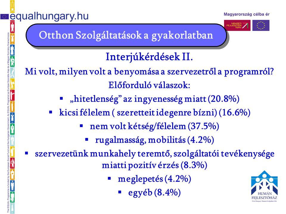Interjúkérdések II. Mi volt, milyen volt a benyomása a szervezetről a programról.