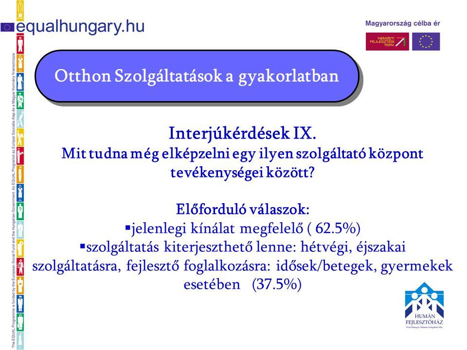 Otthon Szolgáltatások a gyakorlatban Interjúkérdések IX.