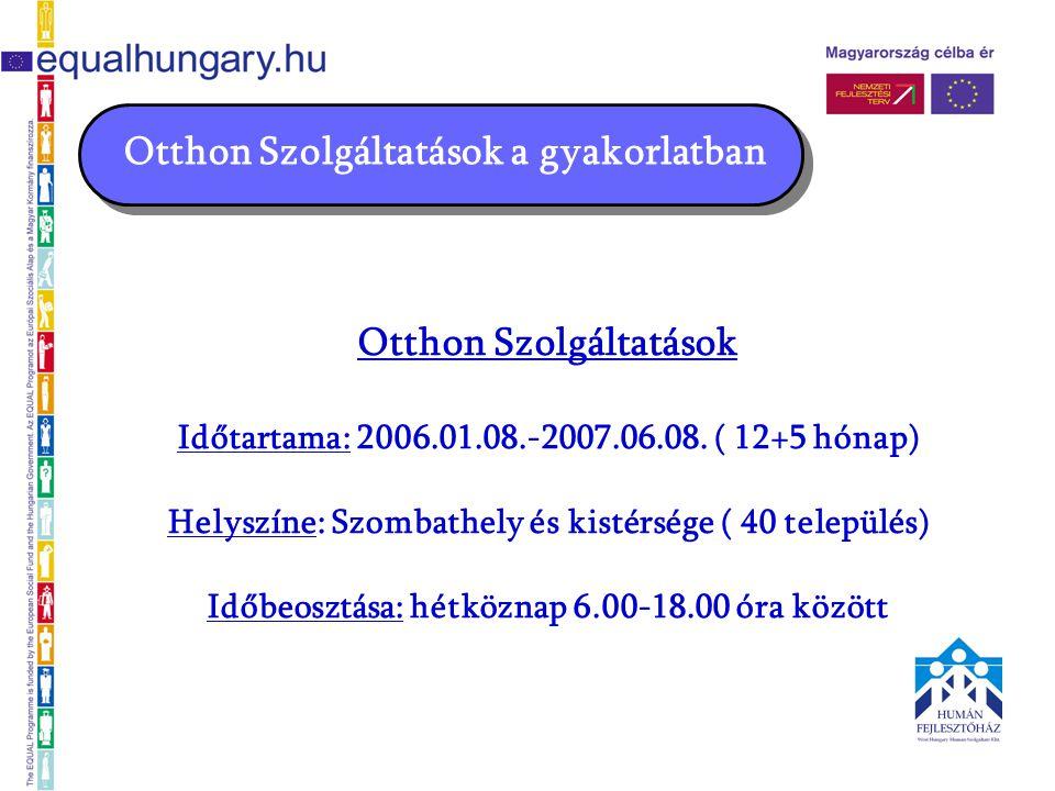 Otthon Szolgáltatások a gyakorlatban Otthon Szolgáltatások Időtartama: 2006.01.08.-2007.06.08.