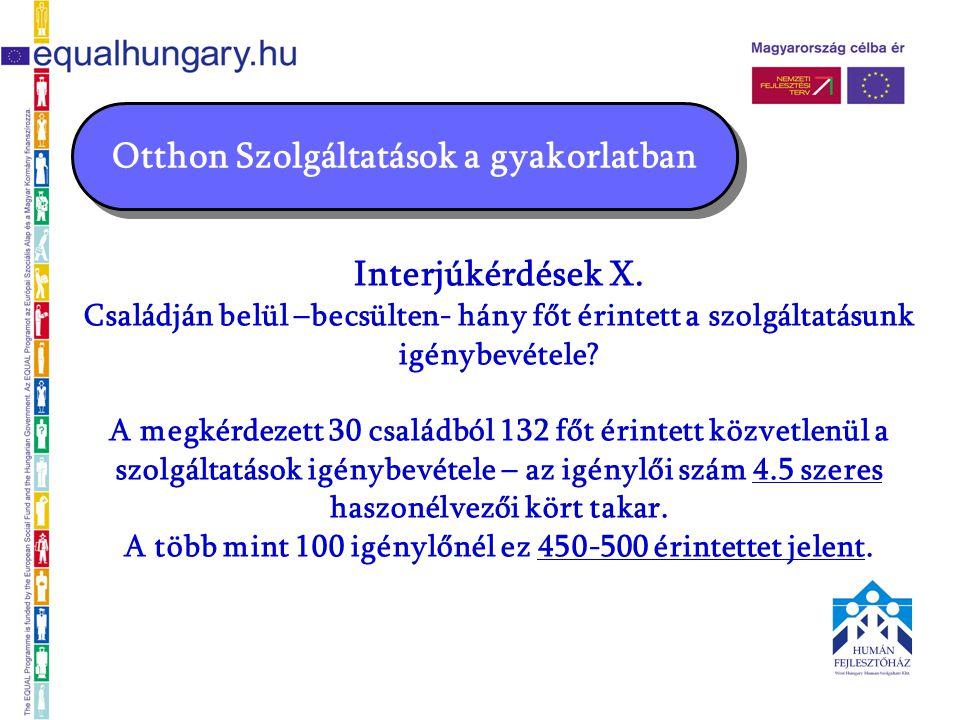 Otthon Szolgáltatások a gyakorlatban Interjúkérdések X.