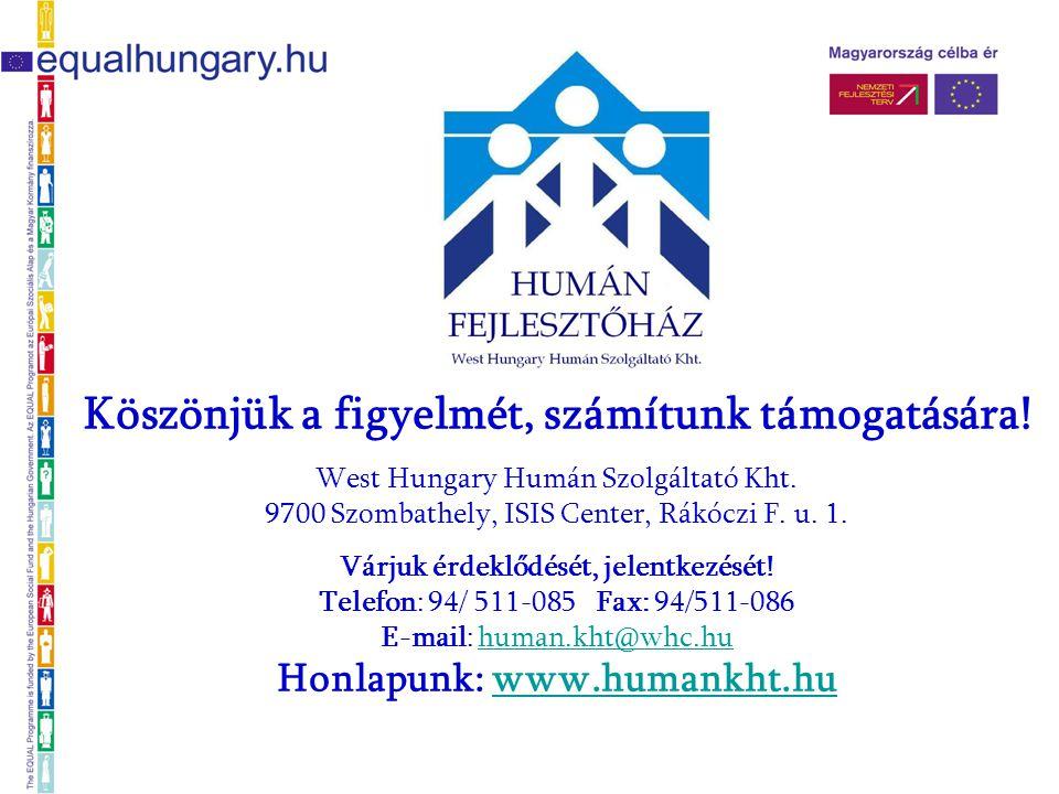 Köszönjük a figyelmét, számítunk támogatására. West Hungary Humán Szolgáltató Kht.