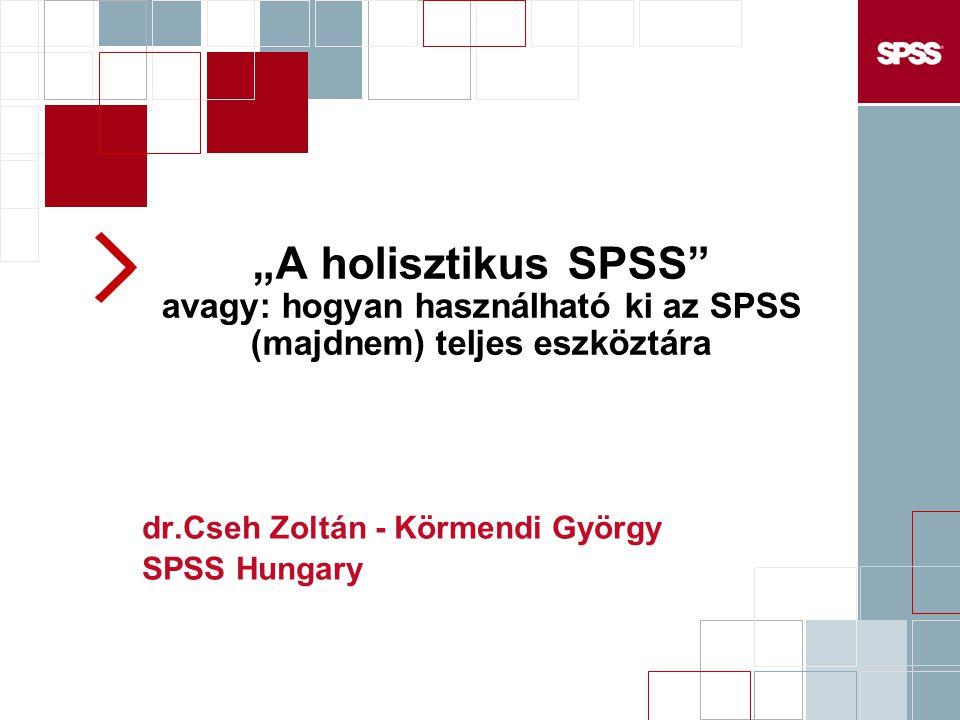 """""""A holisztikus SPSS"""" avagy: hogyan használható ki az SPSS (majdnem) teljes eszköztára dr.Cseh Zoltán - Körmendi György SPSS Hungary"""