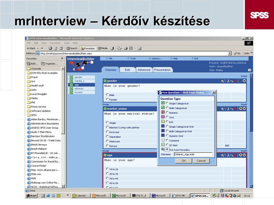 mrInterview – Kérdőív készítése