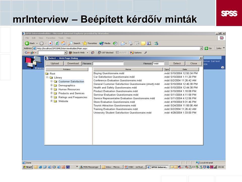 mrInterview – Beépített kérdőív minták