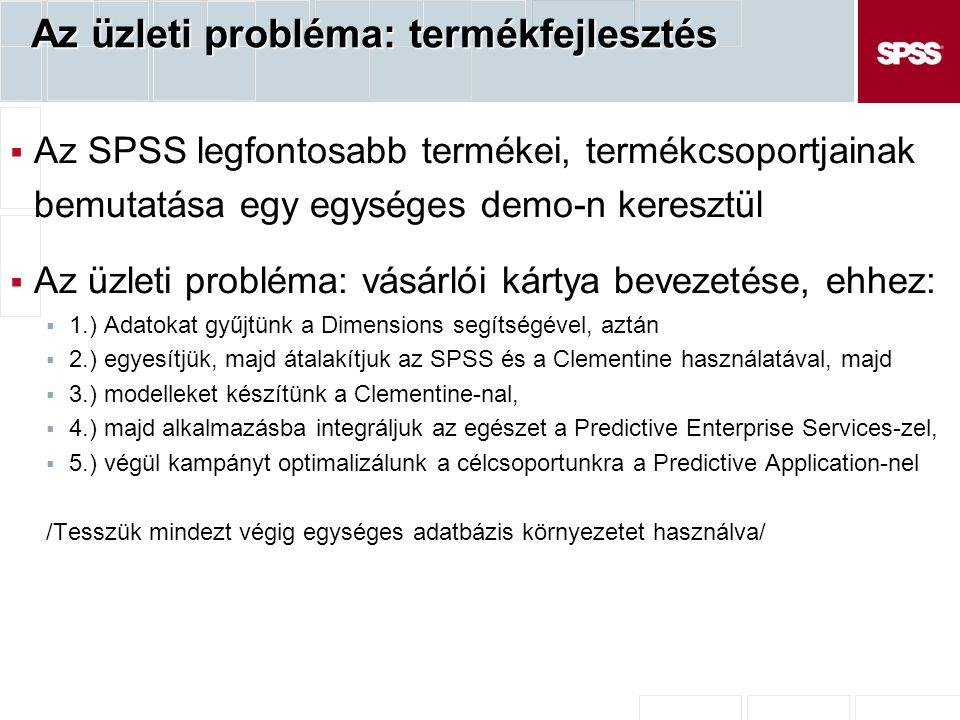 Az üzleti probléma: termékfejlesztés  Az SPSS legfontosabb termékei, termékcsoportjainak bemutatása egy egységes demo-n keresztül  Az üzleti probléma: vásárlói kártya bevezetése, ehhez:  1.) Adatokat gyűjtünk a Dimensions segítségével, aztán  2.) egyesítjük, majd átalakítjuk az SPSS és a Clementine használatával, majd  3.) modelleket készítünk a Clementine-nal,  4.) majd alkalmazásba integráljuk az egészet a Predictive Enterprise Services-zel,  5.) végül kampányt optimalizálunk a célcsoportunkra a Predictive Application-nel /Tesszük mindezt végig egységes adatbázis környezetet használva/