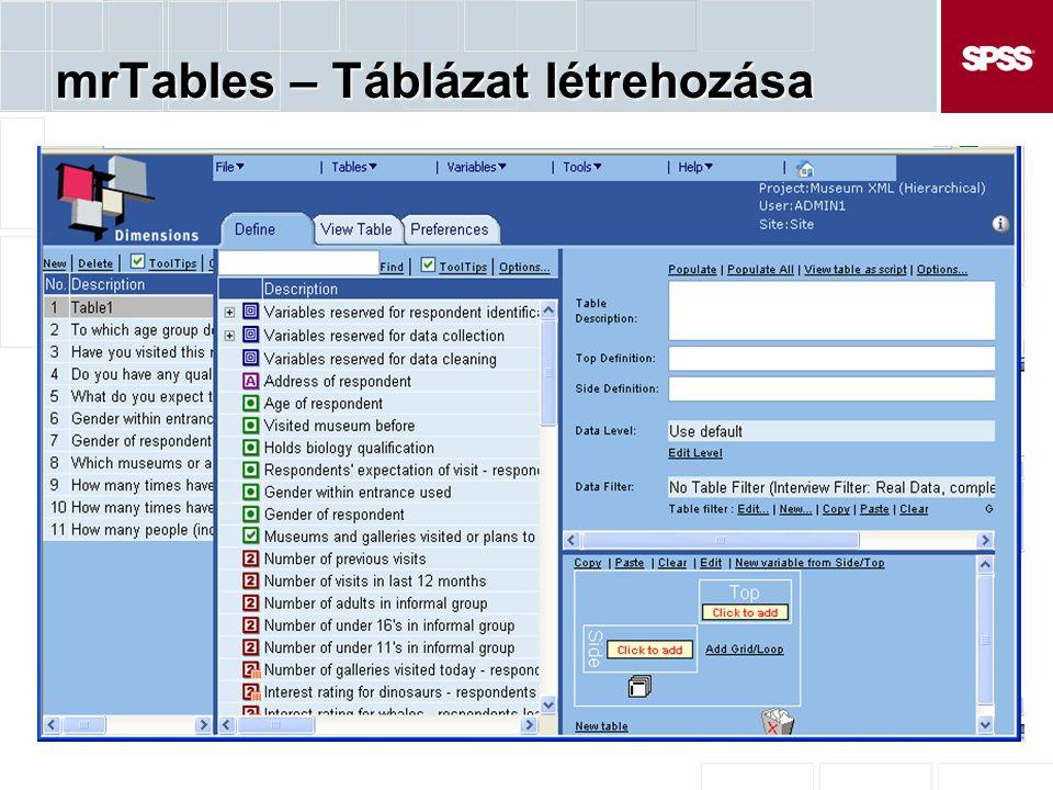 mrTables – Táblázat létrehozása