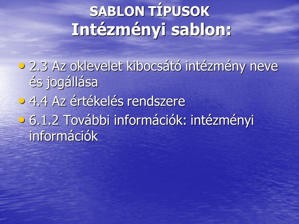 SABLON TÍPUSOK Intézményi sablon: • 2.3 Az oklevelet kibocsátó intézmény neve és jogállása • 4.4 Az értékelés rendszere • 6.1.2 További információk: intézményi információk