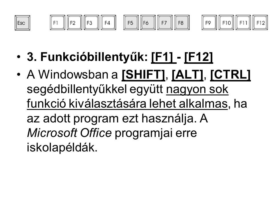 •3. Funkcióbillentyűk: [F1] - [F12] •A Windowsban a [SHIFT], [ALT], [CTRL] segédbillentyűkkel együtt nagyon sok funkció kiválasztására lehet alkalmas,