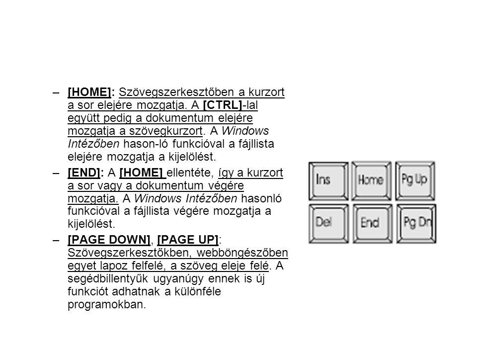 –[HOME]: Szövegszerkesztőben a kurzort a sor elejére mozgatja. A [CTRL]-lal együtt pedig a dokumentum elejére mozgatja a szövegkurzort. A Windows Inté