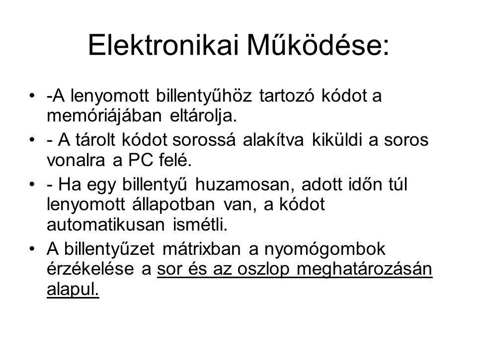 Elektronikai Működése: •-A lenyomott billentyűhöz tartozó kódot a memóriájában eltárolja. •- A tárolt kódot sorossá alakítva kiküldi a soros vonalra a