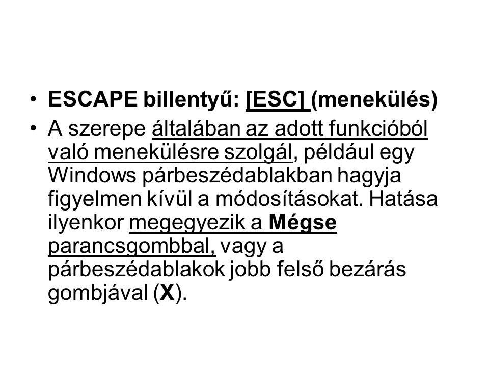•ESCAPE billentyű: [ESC] (menekülés) •A szerepe általában az adott funkcióból való menekülésre szolgál, például egy Windows párbeszédablakban hagyja f