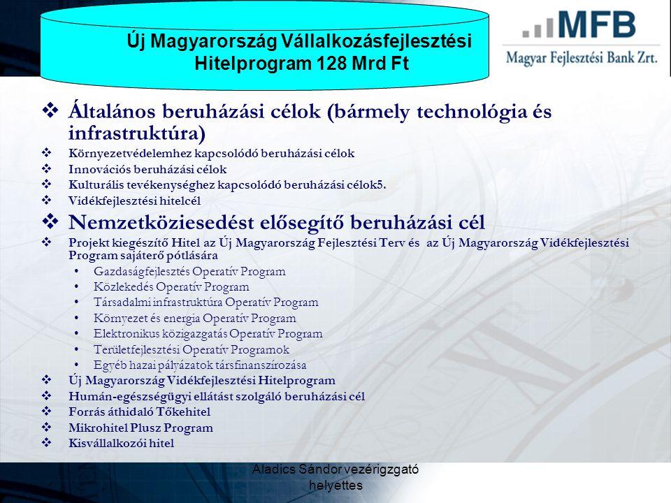 Aladics Sándor vezérigzgató helyettes  Általános beruházási célok (bármely technológia és infrastruktúra)  Környezetvédelemhez kapcsolódó beruházási