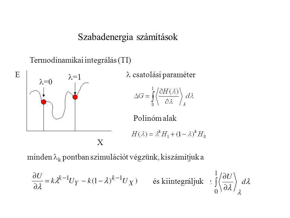 Szabadenergia számítások E X Termodinamikai integrálás (TI)  =0 Polinóm alak minden  k pontban szimulációt végzünk, kiszámítjuk a  =1  csatolási p