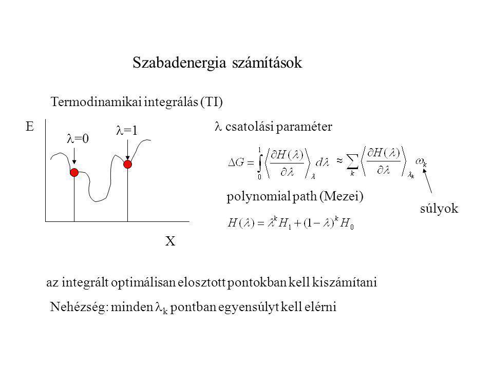 Szabadenergia számítások E X Termodinamikai integrálás (TI)  =0 polynomial path (Mezei) Nehézség: minden  k pontban egyensúlyt kell elérni  =1  cs