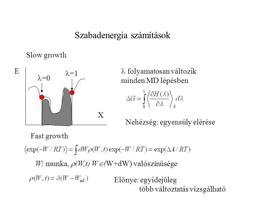 Szabadenergia számítások E X Fast growth  =0 Előnye: egyidejűleg több változtatás vizsgálható  =1  folyamatosan változik minden MD lépésben Slow gr