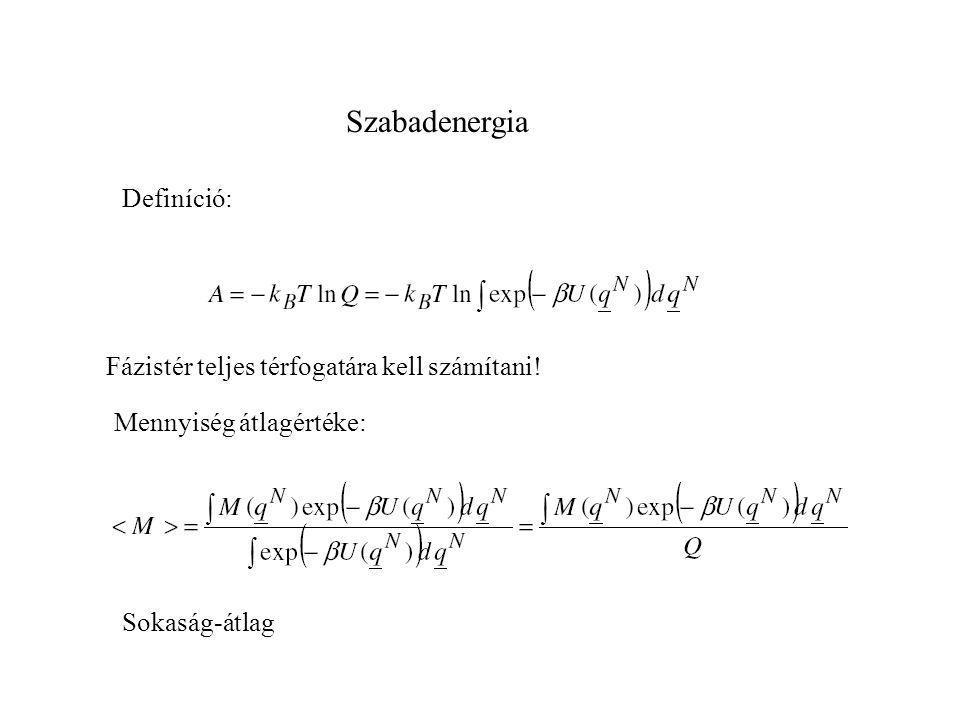 Szabadenergia számítások E X Probléma: mintavételezés a fázistérből általában alacsony energiájú konfigurációkat vizsgálunk nem megfelelő a magas energiájú konformerek reprezentációja A: Helmoltz fv.