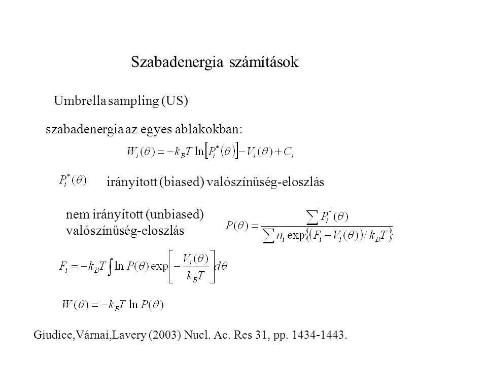Szabadenergia számítások Giudice,Várnai,Lavery (2003) Nucl. Ac. Res 31, pp. 1434-1443. Umbrella sampling (US) szabadenergia az egyes ablakokban: nem i