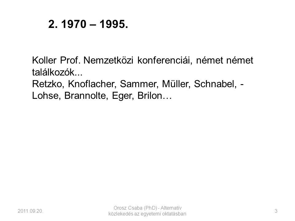 2011.09.20. Orosz Csaba (PhD) - Alternatív közlekedés az egyetemi oktatásban 3 Koller Prof. Nemzetközi konferenciái, német német találkozók... Retzko,