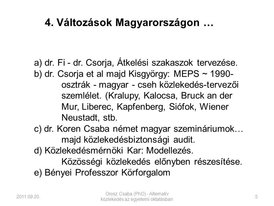 2011.09.20. Orosz Csaba (PhD) - Alternatív közlekedés az egyetemi oktatásban 5 a) dr. Fi - dr. Csorja, Átkelési szakaszok tervezése. b) dr. Csorja et