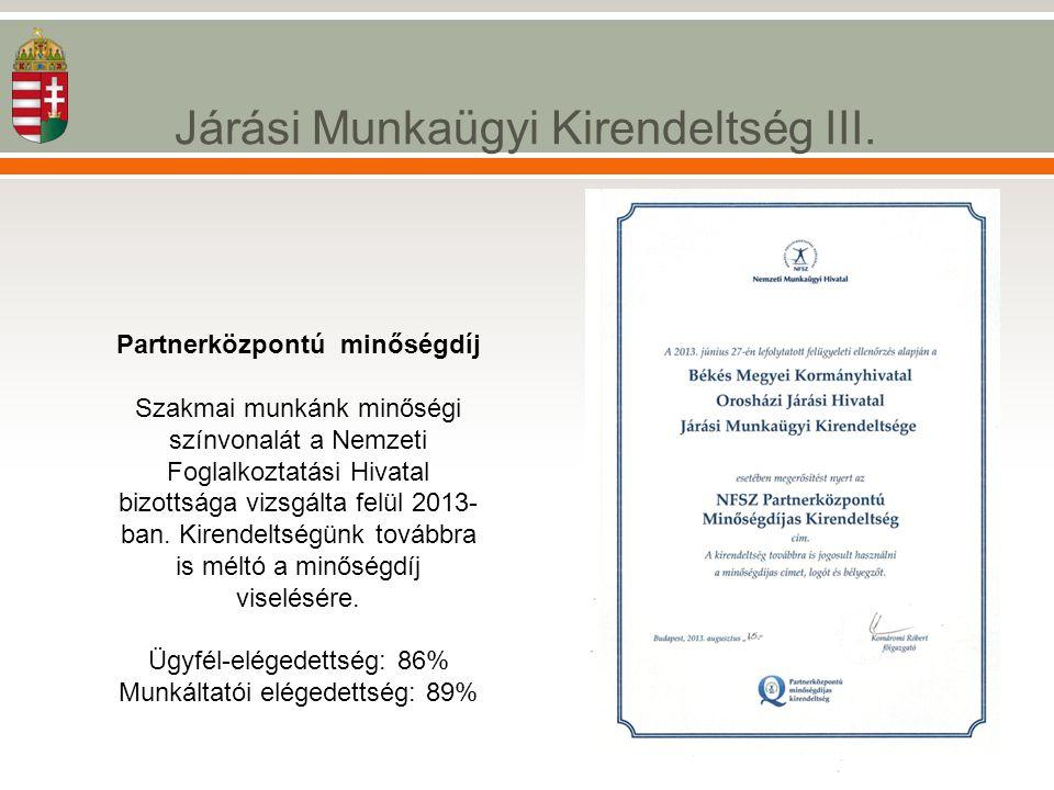 Járási Munkaügyi Kirendeltség III. Partnerközpontú minőségdíj Szakmai munkánk minőségi színvonalát a Nemzeti Foglalkoztatási Hivatal bizottsága vizsgá
