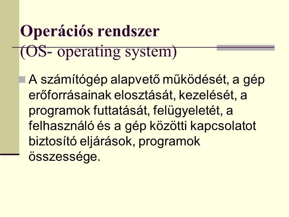 Operációs rendszer (OS- operating system)  A számítógép alapvető működését, a gép erőforrásainak elosztását, kezelését, a programok futtatását, felüg