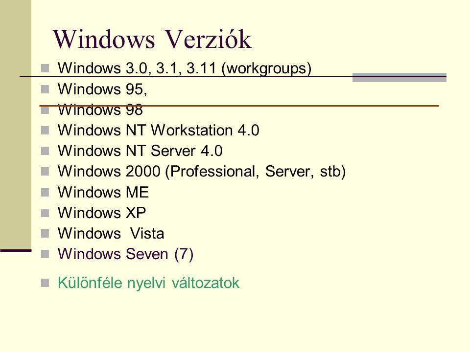 Windows Verziók  Windows 3.0, 3.1, 3.11 (workgroups)  Windows 95,  Windows 98  Windows NT Workstation 4.0  Windows NT Server 4.0  Windows 2000 (