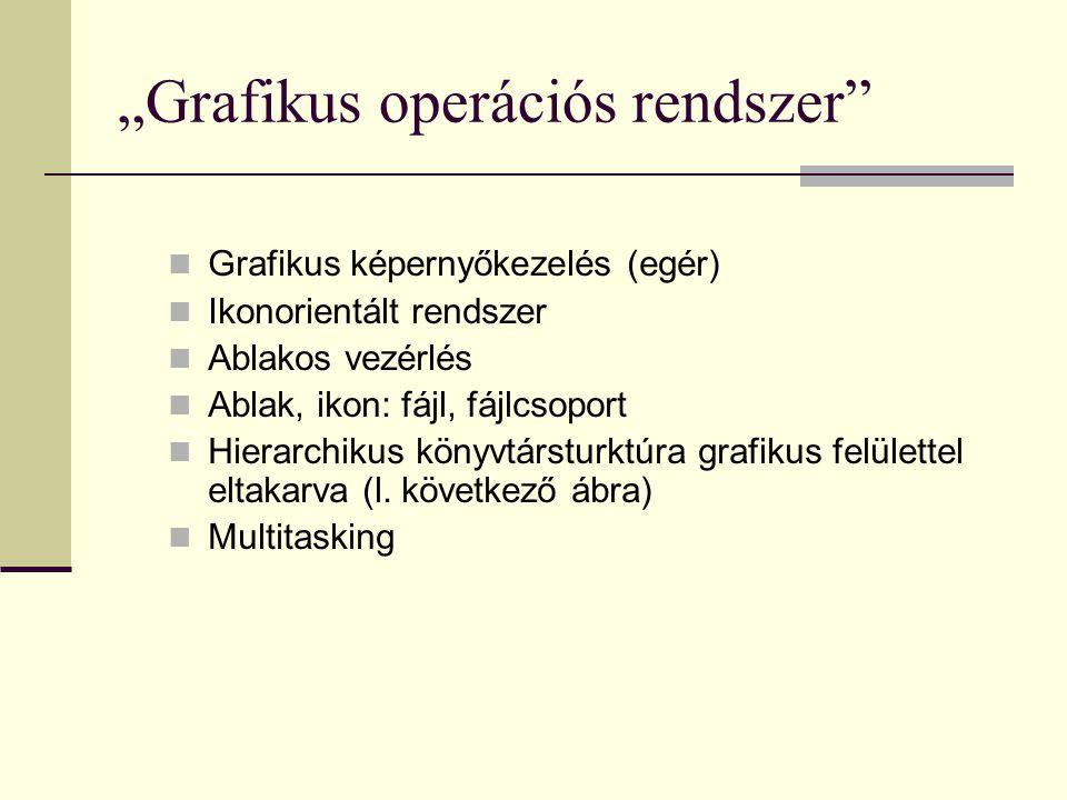 """""""Grafikus operációs rendszer""""  Grafikus képernyőkezelés (egér)  Ikonorientált rendszer  Ablakos vezérlés  Ablak, ikon: fájl, fájlcsoport  Hierarc"""