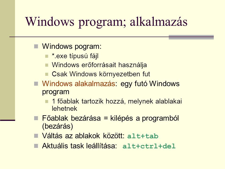 Windows program; alkalmazás  Windows pogram:  *.exe típusú fájl  Windows erőforrásait használja  Csak Windows környezetben fut  Windows alakalmaz